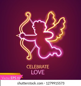 Cupid card neon light Vector realistic. Valentine day cupid lovely symbol