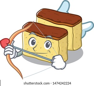 Cupid castella cake isolated in the cartoon