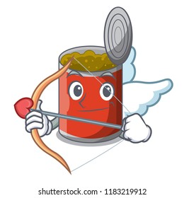 Cupid character canned food isolated on cartoon