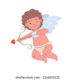 Cupid character shooting or aiming arrow of love.  Flat isolated illustration