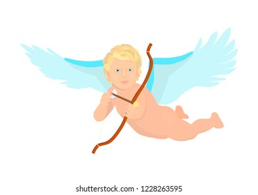 Cupid flies on the wings and holds a bow. Little angel is aiming from the bow.