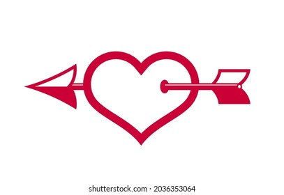 Cupid heart with arrow from bow vector icon or logo, romantic heart fallen in love concept, Valentine theme, lovestruck theme.