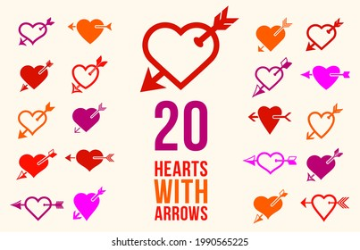 Cupid hearts with arrow from bow vector icons or logos set, romantic hearts fallen in love concept, Valentine theme, lovestruck theme.