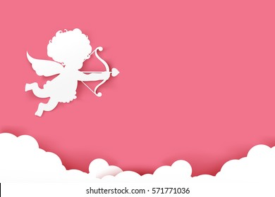 Cupid holding arrow with shadow on pink background with copy space vector illustration eps 10