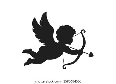 cupid icon. valentine's day symbol. Cupid shooting arrow. isolated vector silhouette image