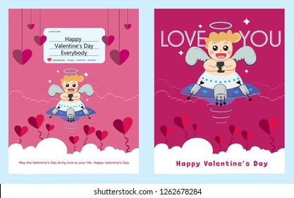 "Cupid inside frame for valentines day. Vector Illustration.  Valentines day with cupid on ufo. Cupid sending a post ""Happy Valentine's day everybody"" from his mobile phone."