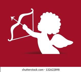 cupid isolated over red background. vector illustration