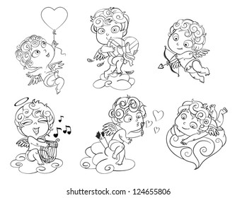Cupid lies on a cloud, flying in a balloon in the shape of heart, holding a box of chocolates, ready to shoot his arrow, playing music on the lyre, blow bubbles. Coloring book. Vector illustration