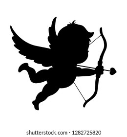 Cupid with the love arrow. Happy Valentine Day