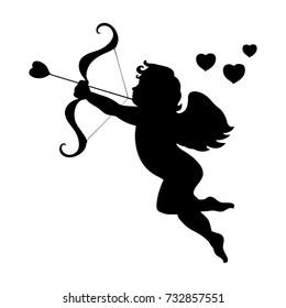 Cupid love silhouette ancient mythology fantasy. Vector illustration.