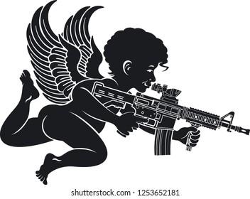 cupid with machine gun