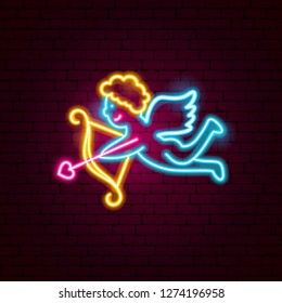Cupid Neon Sign. Vector Illustration of Love Promotion.