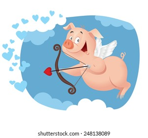 Cupid Pig Vector Funny Cartoon - Illustration of a sweet piggy flying in Valentine card concept