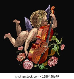Cupid plays violin, little boy angel and roses flowers. Embroidery style. Love background. Happy Valentines Day art. Template for clothes, t-shirt design