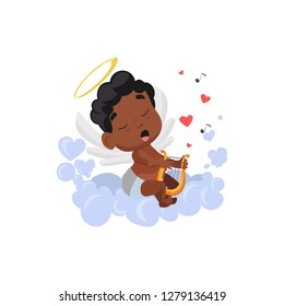 cupid with quimbard illustration. Arpa, angel, kid, music. Saint Valentines Day concept. Vector illustration can be used for topics like romantic, love, celebration, greeting card
