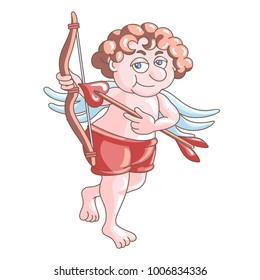 Cupid in red shorts  with bow and arrow  isolated on white background. Valentine's Day. Vector illustration for postcards, clothing design and packaging and your design