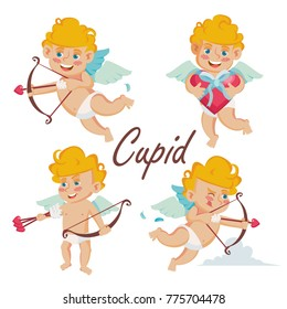 Cupid Set Vector. Cupids Bow. Cupid In Different Poses. Happy Valentine's Day. Element For Graphic Design. Isolated Flat Cartoon Character Illustration