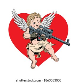 Cupid sharpshooter holding sniper rifle. Cute angel of love seeking and aiming. Valentine's day concept. Comic style vector Illustration.