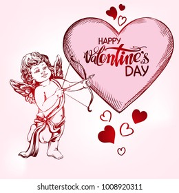 Cupid shoots a bow with an arrow at the heart, love, Valentine s day, greeting card hand drawn vector illustration realistic sketch