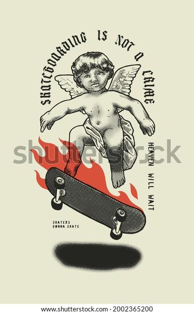 cupid-skateboarding-board-on-fire-600w-2