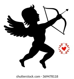 Cupid takes aim isolated on white, vector illustration