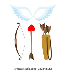 Cupid weapons set . Bow and arrow with heart. Quiver with arrows. Angel flank. Cupids wing.
