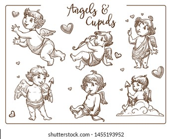 Cupids and angels with wings and arrow Valentines day isolated sketches character vector boy in diapers love and affection symbol hearts mythical, flying creature with weapon matchmaker heaven baby