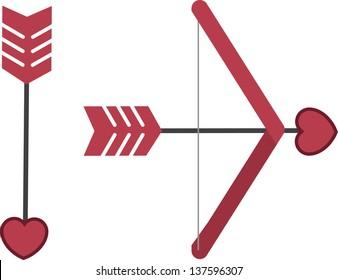 Cupid's bow and arrow isolated