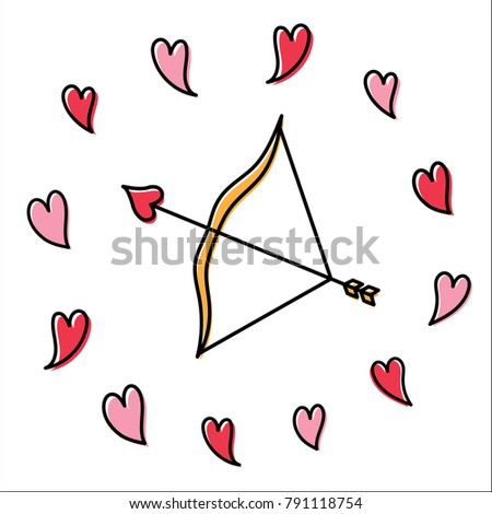 Cupids Bow Arrow Valentines Day Love Stock Vector Royalty Free
