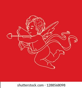 Cupids, the symbol of love, Valentine's Day, Cupid love silhouette ancient mythology fantasy, Wedding card vector illustration.