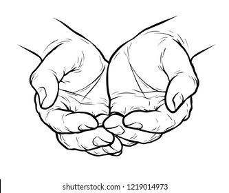 Cupped hands, folded arms sketch. Vintage vector illustration