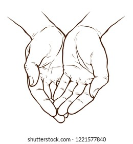 Cupped hands, folded arms sketch. Hand drawn vector illustration