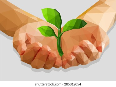 cupped hands keep green plant isolated ecology polygonal low-poly