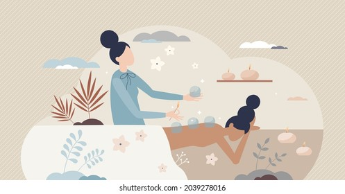 Cupping treatment SPA as vacuum therapy for back pain tiny person concept. Alternative medicine and acupressure rehabilitation method for wellness, recreation and backache recovery vector illustration
