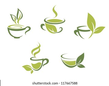 Cups of fresh tea and green leaves, such a template. Jpeg version also available in gallery