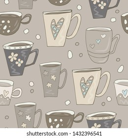 Cups hand draw seamless pattern. Funny ornament cup for textiles, packaging, Wallpaper, covers. Cups ornament. Vector EPS 10.