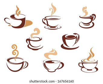 Cups with steaming fragrant coffee for cafe or restaurant logo design