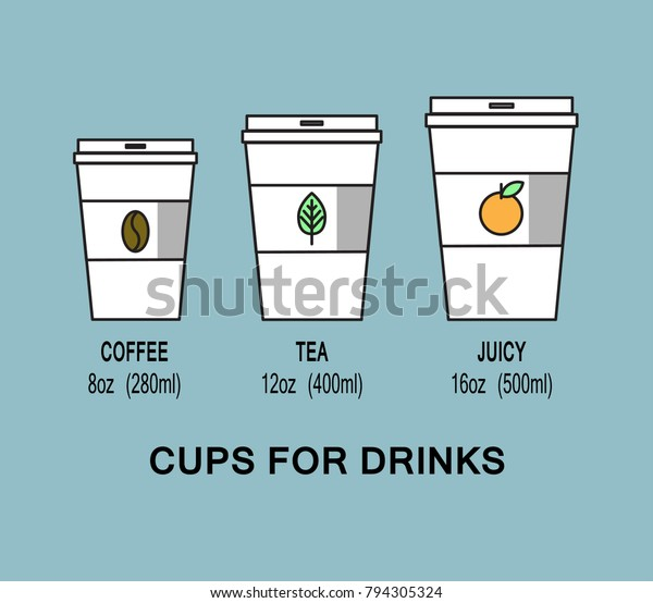 Cups Various Drinks Milliliters Cup Coffee Stock Vector