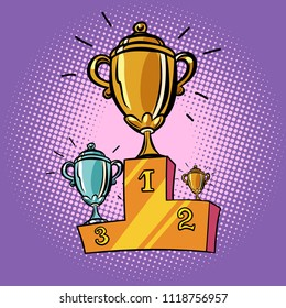 cups winner, first second third place pedestal. Sports championship competition. Comic cartoon pop art retro illustration vector drawing