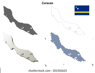 Curacao blank detailed outline map set - vector version