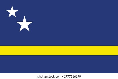 Curacao flag vector graphic. Rectangle Curacaoan flag illustration. Curacao country flag is a symbol of freedom, patriotism and independence.