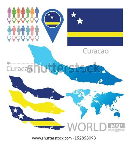 Curacao Location On World Map.Curacao Flag World Map Vector Illustration Stock Vector Royalty