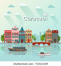 Curacao island vector illustration. Flat design