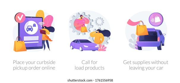 Curbside pickup abstract concept vector illustration set. Place your order online, call for load products, get supplies without leaving your car, safe grocery pick-up, quickservice abstract metaphor.
