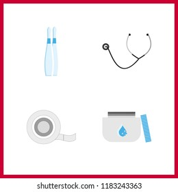 cure icon. stethoscope and ampoule vector icons in cure set. Use this illustration for cure works.