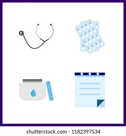 cure icon. stethoscope and medicine vector icons in cure set. Use this illustration for cure works.