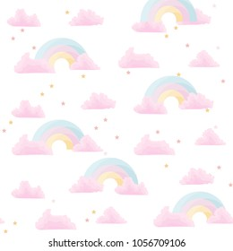 Cure vector illustration with rainbow and pink clouds with stars. Seamless pattern design for girls