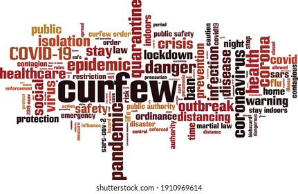 Curfew word cloud concept. Collage made of words about curfew. Vector illustration