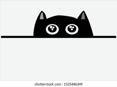 Curious black cat peeking out