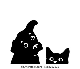 Curious cat and dog muzzles. Sticker on a car or a refrigerator